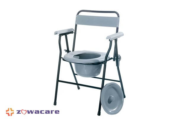 Zowa Foldable Steel Commode with Backrest and Bucket 3