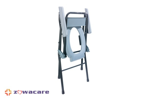 Zowa Foldable Steel Commode with Backrest and Bucket 4